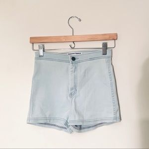 American Apparel high waisted light wash shorts